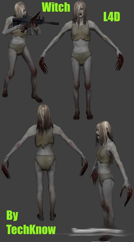 Скачать Зомби скин ведьма из L4D для зомби сервера css